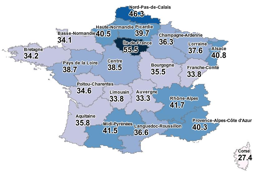 Pourcentage d'offres d'emploi requiérant des études supérieures par régions. Source : Jobfeed France