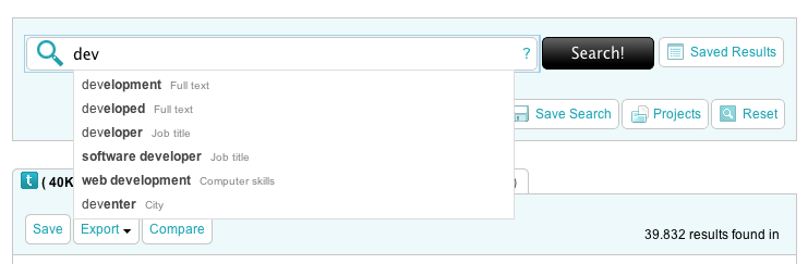Example of a new product feature: 'Auto-suggest'