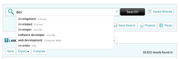 Voorbeeld van een nieuwe productfeature: 'Auto-suggest'