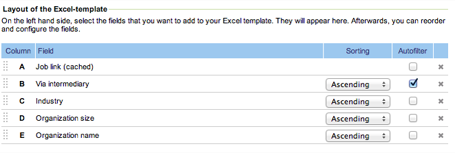 Example of a Jobfeed Excel template with new fields: 'job link (cached)', 'industry' and 'organisation size'.