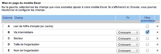 Exemple d'un modèle Excel Jobfeed avec les nouveaux champs : 'lien de l'offre d'emploi (en cache), 'secteur' et 'taille de l'organisation'.