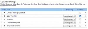 """Beispiel für eine Job Feed Excel-Vorlage mit neuen Felder: """"Job-Link (gespeichert)"""",""""Industrie"""" und """"Organisationsgröße""""."""