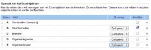 Voorbeeld van een Jobfeed Excel-sjabloon met nieuwe velden: 'vacaturelink (bewaard)', 'branche' en 'organisatiegrootte'.