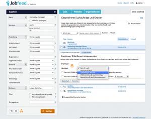 Jobfeed Suchprofile und E-Mail-Benachrichtigungen