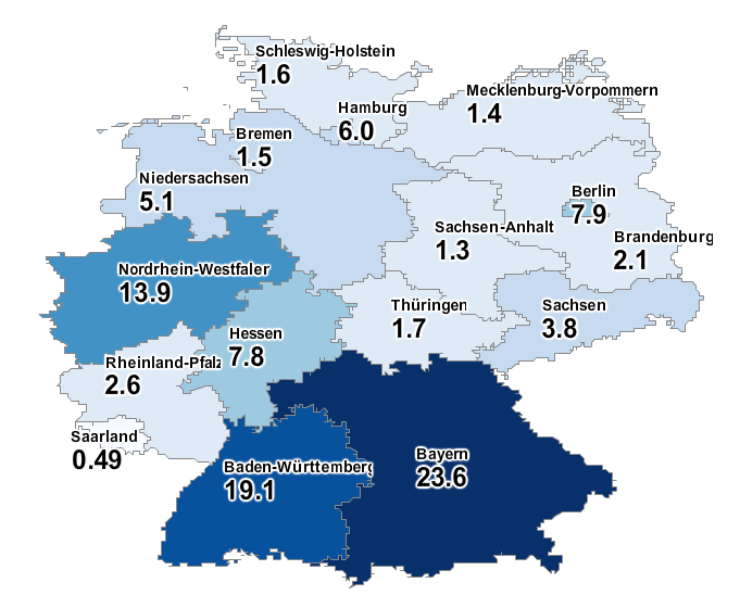 Percentage of unique online jobs in Germany per German region. Source: Jobfeed