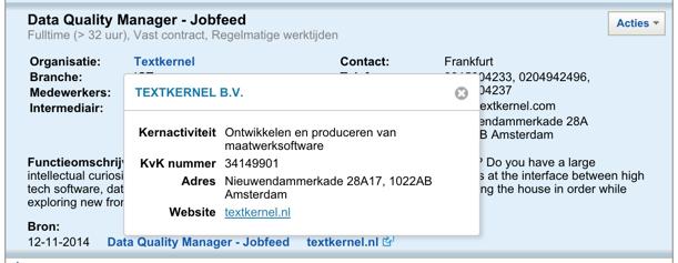Widget met organisatie-informatie in Jobfeed