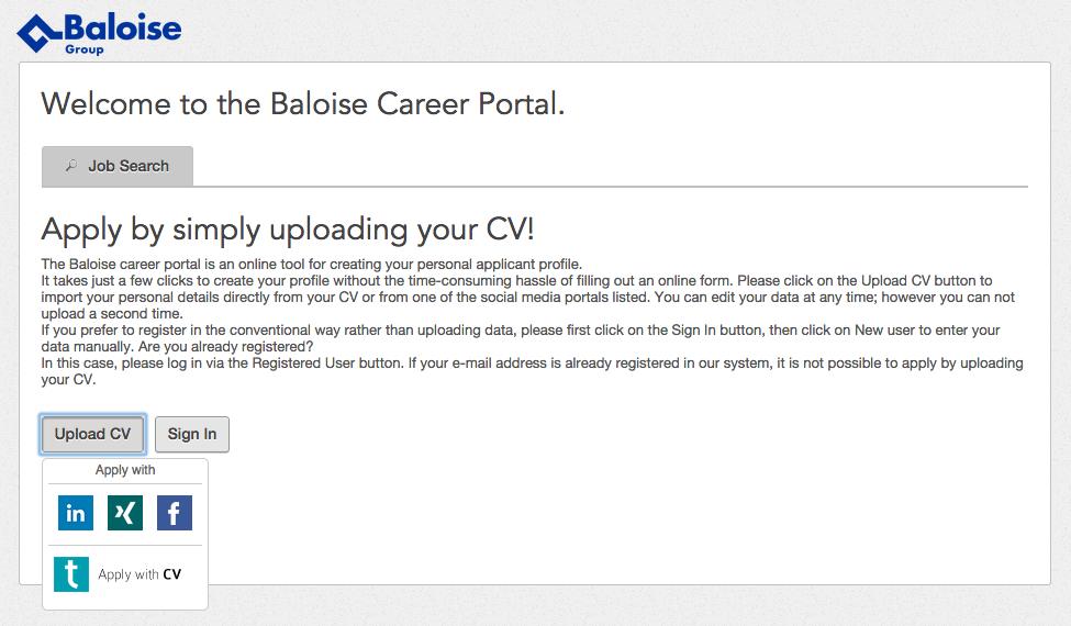 Baloise - Upload CV and easily apply