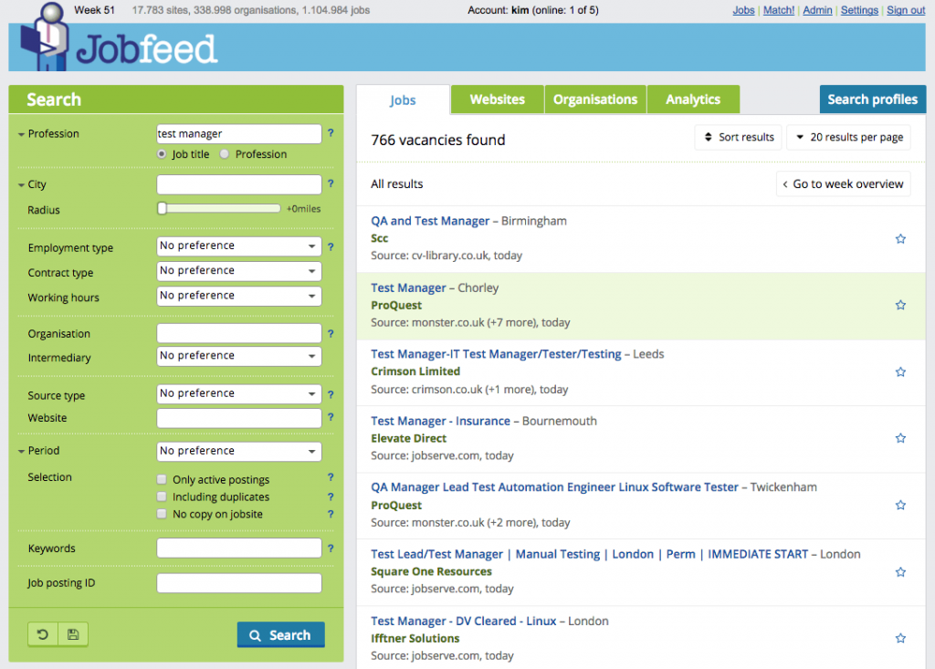 Improved Jobfeed interface with clearer results